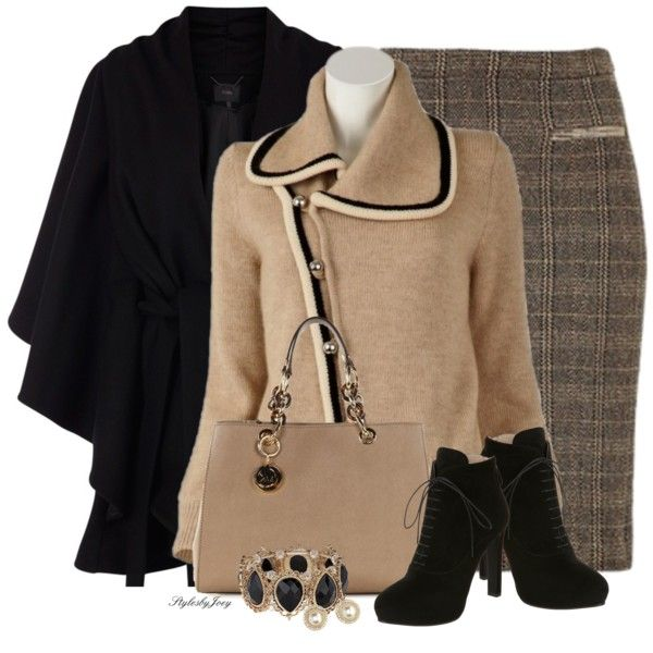 Lace Up Booties by stylesbyjoey on Polyvore featuring Coast, Prada, Michael Kors, Dorothy Perkins, Charlotte Russe, sweaters, laceupbooties, tweedskirt, capecoats and blackandtaupe