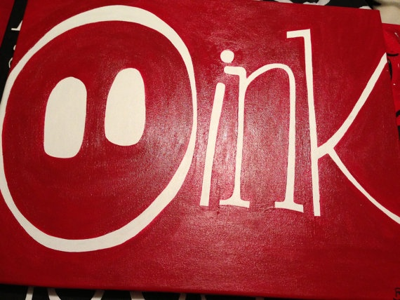 "Arkansas Razorback ""Oink"" Canvas . $20.00, via Etsy."