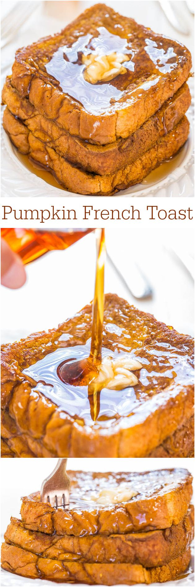 Perfect Thanksgiving breakfast: Pumpkin French Toast - Don't even think about skipping breakfast when you can have this! It's fast, easy, and packed with pumpkin flavor!!!