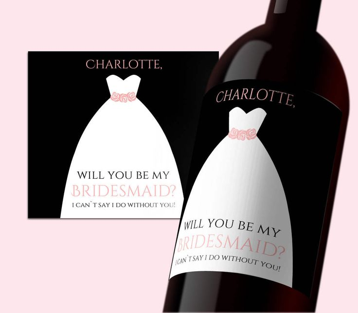INSTANT DOWNLOAD PDF Template 3,5x4 Editable Wine Label Be my Bridesmaid tag Bridesmade calligraphy Printable Wedding Wine Labels Digital by DreamPrintable on Etsy