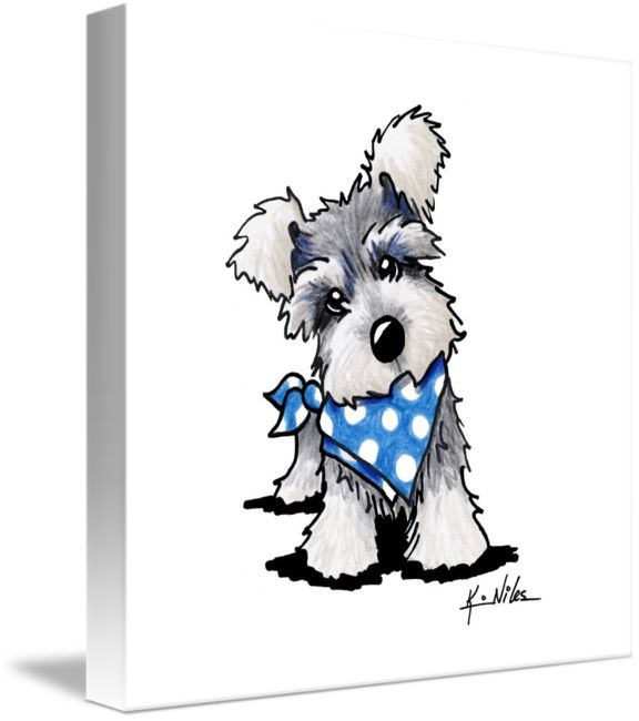 """Schnauzer In Dots by Kim Niles (2013) """"Schnauzer+In+Dots""""+by+Kim+Niles,+Oak+Harbor+//+Miniature+Schnauzer+dog+art+by+KiniArt+Artist,+Kim+Niles.++KiniArt+-+All+Rights+Reserved.+//+Imagekind.com+--+Buy+stunning+fine+art+prints,+framed+prints+and+canvas+prints+directly+from+independent+working+artists+and+photographers."""