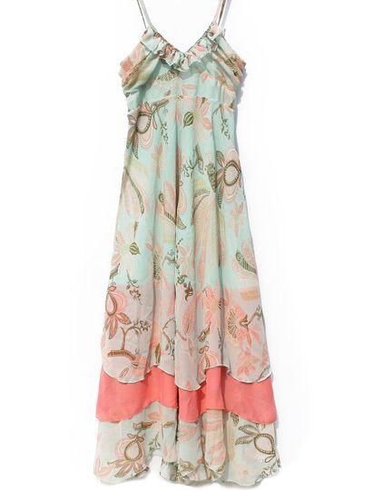'Icecream' feminine layered maxi dress in mint + sorbet from VICTORS CROWN ONLINE