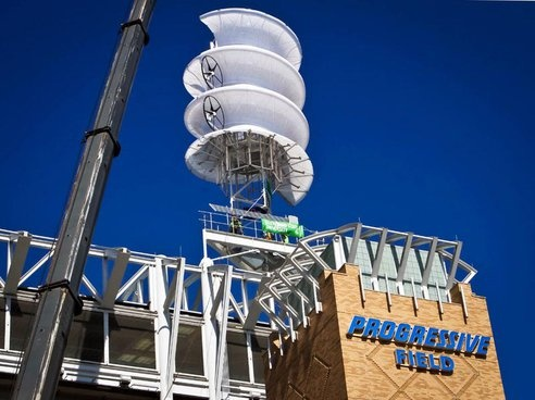 New wind turbine on top of the Cleveland Indians ballpark, designed specifically for use in dense urban areas where wind speeds fluctuate.