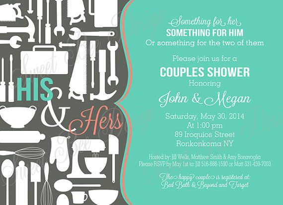 Couples Shower Invitation for Bridal Shower, Couple Shower - Pots, Pans & Power Tools,  Couples Shower Invitation - Custom Printable