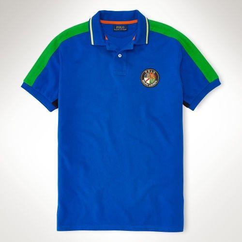 8cce218b ... clearance blue di ralph lauren uomini custom fit patch polo custom fit  dc433 dfd4d