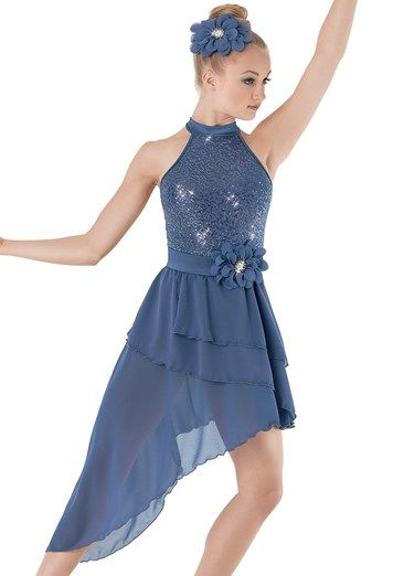 """Blue Sequined Bodice with Halter Style Neckline and Georgette Skirt with Attached Flower - """"The Whisperer"""""""