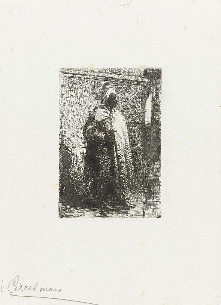 Otto Eerelman | Arabier, Otto Eerelman, 1849 - 1926 | Een man, ten voeten uit, gekleed in een witte mantel en tulband, staat voor een muur.