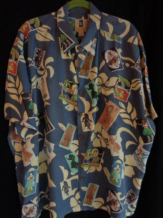 Vintage Hawaiian shirt blue ladies XXL by vintagewayoflife on Etsy