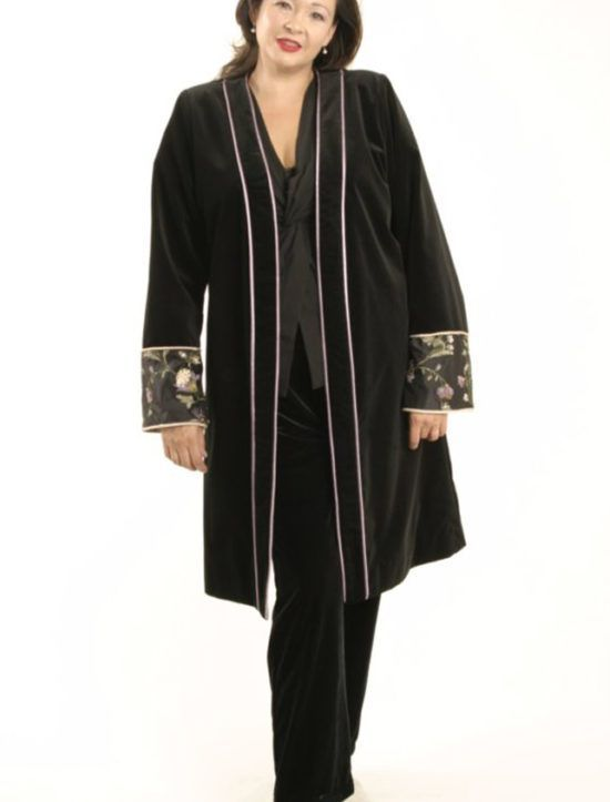 Plus Size Special Occasion Empress Coat Velvet Beaded Black Lavender by Peggy Lutz is made-to-order in sizes 14 - 32.  LOVE what you wear, xox Peg #peggylutzplus #lovewhatyouwear #style #plusstyle #plussize #plussizefashion #plussizeluxury #styleatacertainage #womenstyle #womanstyle #couture #winterstyle #winterwedding