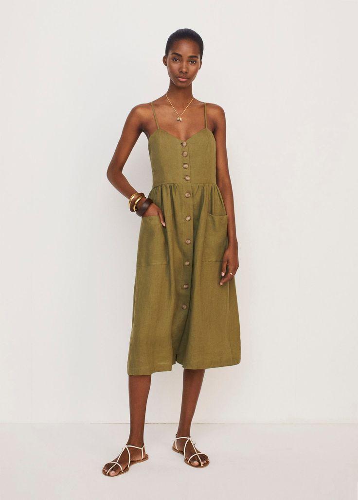 Leinenkleid mit taschen - Damen | Leinenkleid, Kleider ...