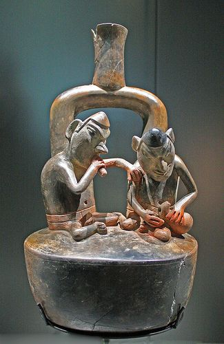 Pottery with two figures, Cupisnique culture, Peru. Terracotta.