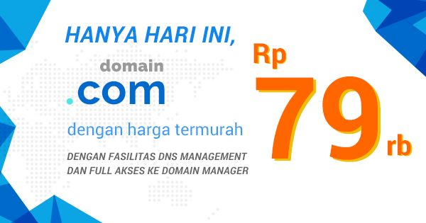 Termurah Domian.com Hanya Rp. 79.000,- Dengan full akses ke Domain Manager dan fasilitas DNS Management. #DomainMurah #DomainMurahBerkualitas #DomainHostingTermurah