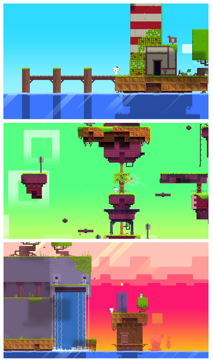 'Fez' is a classically beautiful pixel art game. Each pixel placement is a deliberate decision to give meaning to everything in the game. I think it's great to note even the little things, like the fact that the design of the square blocks that make up the land are themselves varied and each different. A rich, vibrant colour pallet also makes for a real visual feast. Even with just the above images, with a change as little as the background colour makes for such a different feel between…