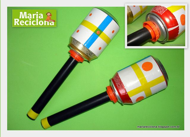Instrumentos Reciclados maracas com lata de refrigerante by Maria Reciclona, via Flickr