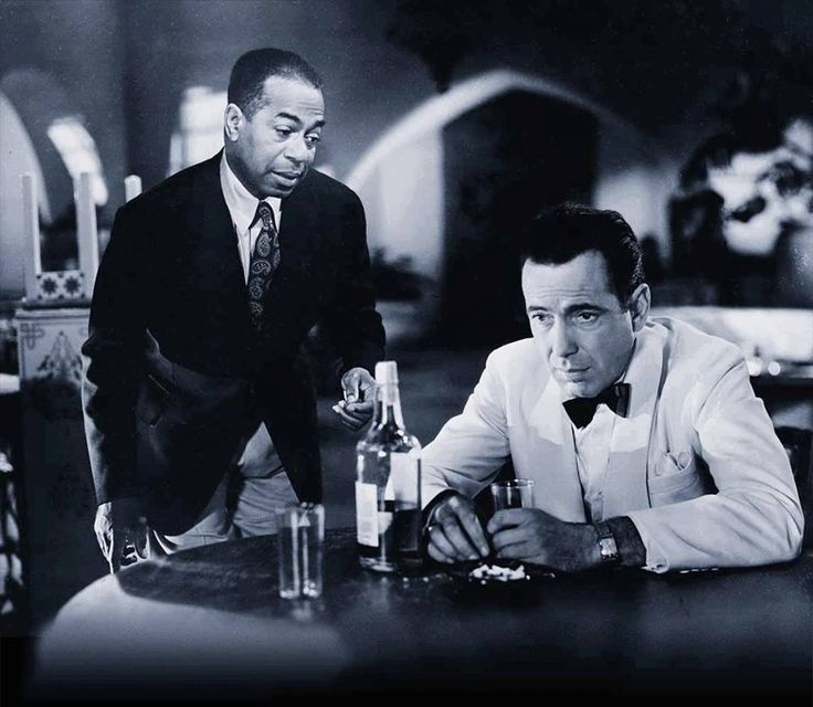 "The great Humphrey Bogart as Rick Blaine in ""Casablanca"" speaking of Ingrid Bergman's character- ""Of all the gin joints, in all the towns, in all the world, she walks into mine."" This film is probably my most favorite movie of all time(except for the ending)"