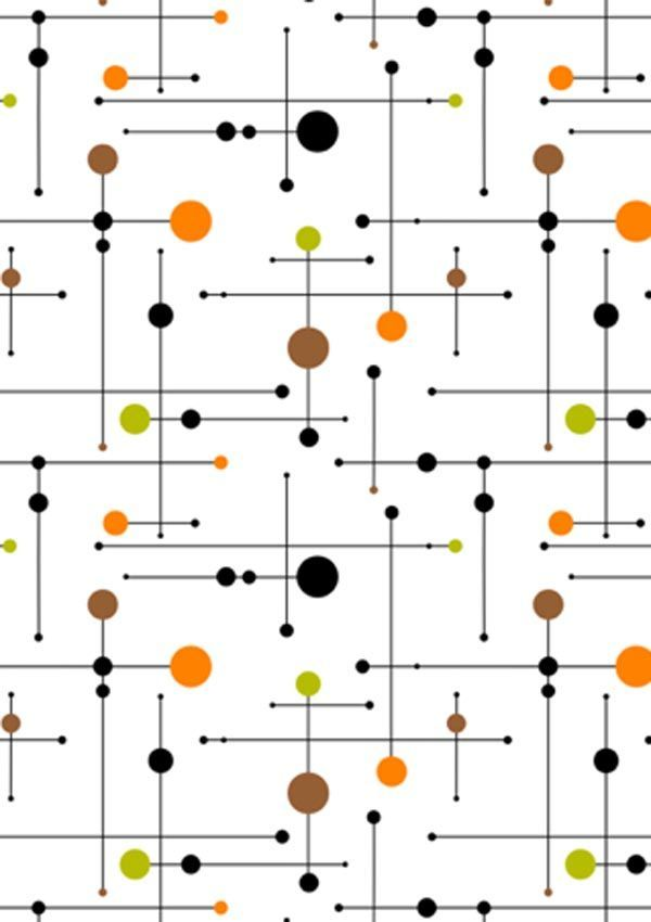 Mid century modern pattern. I'd prefer aqua, red, silver, & navy over this colour palette of orange, lime, brown, & black.