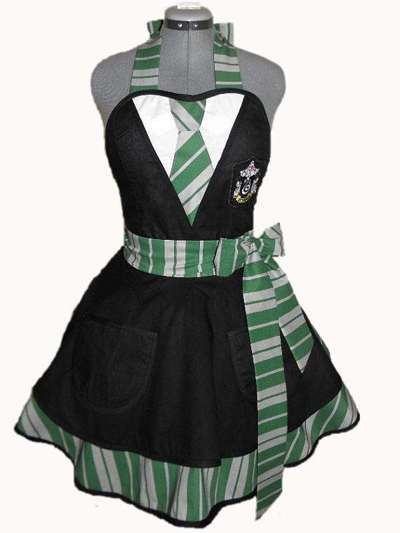 Harry Potter House Colors Retro Apron - Slytherin House.  By BellaLise Designs.