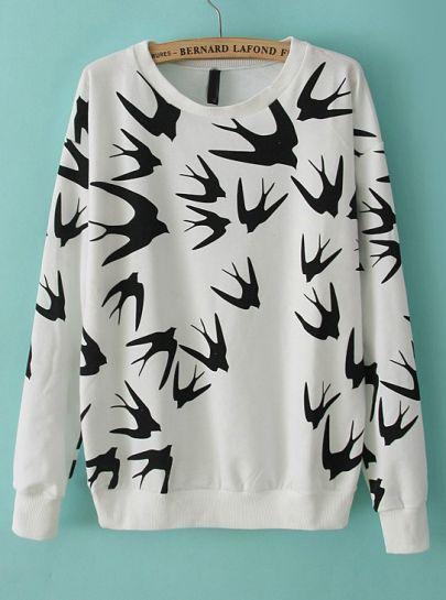 White Long Sleeve Swallow Print Loose Sweatshirt by: SheInside