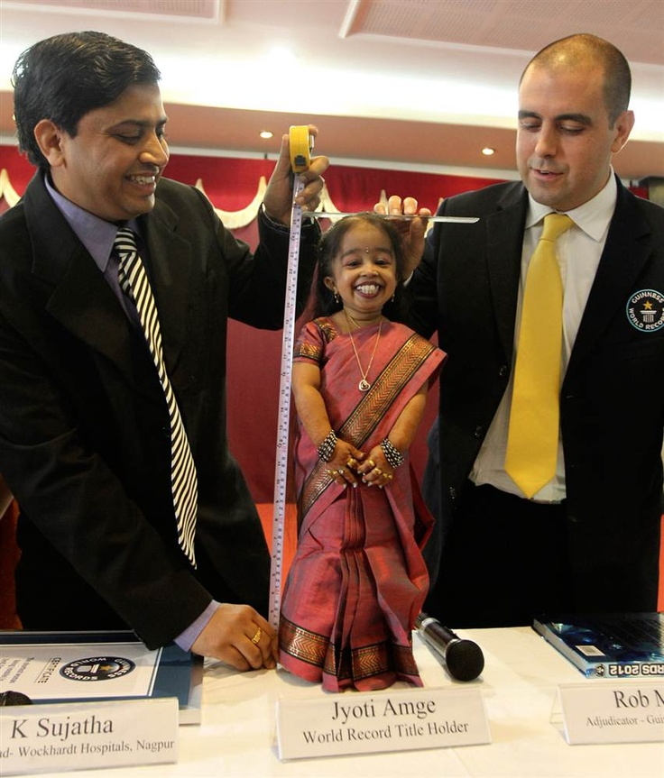 World's shortest woman                  Guinness World Records adjudicator Rob Molloy (R) and Indian doctor K. Sujatha (L) measure the height of Jyoti Amge, the world's shortest living woman, on her 18th birthday in the central Indian city of Nagpur on Dec. 16. Amge was certified by the Guinness World Records as the shortest woman in the world with an average measurement of 24.7 inches.
