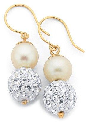 9ct Crystal & Freshwater Pearl Earrings