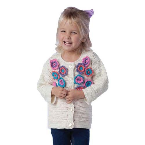 100 best crochetgirlssweater images on pinterest crochet a cardigan full of flowers that will be your little girls favorite sweater intermediate crochet instructions to stitch with premier cotton fair yarn fandeluxe Images