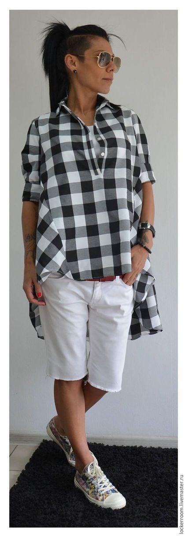 Купить или заказать Рубашка Loose в интернет-магазине на Ярмарке Мастеров. Свободная хлопковая рубашка в клетку. Необычность изделию придает ассиметрия. Рубашка сзади удлиненная. Отлично подходит под джинсы и шорты. Рубашка оверсайз, поэтому чувствовать себя будете в ней очень комфортно.