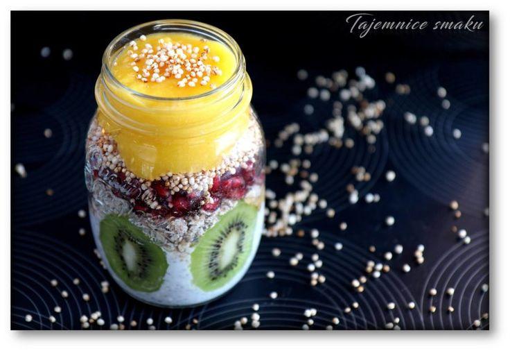 Słoik z owsianką 5 zbóż z kiwi, mango i granatem – Tajemnice smaku