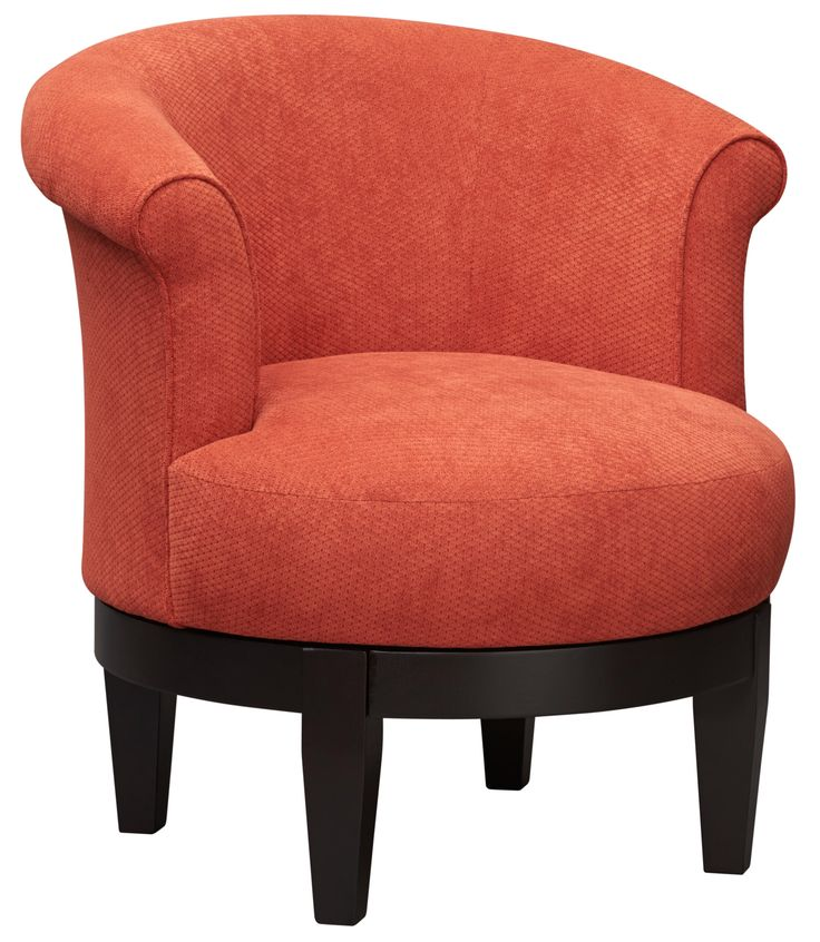 A contemporary swivel chair features an exposed wood base to contrast a terra cotta colored fabric. A tight seat and back with rolled arms give a small scaled chair a lot of style. Also stocked in loden green, bright yellow and denim blue. CLICK TO SEE THE ART VAN BLACK FRIDAY SALE PRICE!
