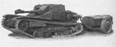 Italian L3/35 flamethrower tank. Typical Italian engineering in WW2: take the most inadequately armored vehicle in army service, and stick an unarmored fuel tank trailer full of volatile and flammable liquid right behind it. What could go wrong?