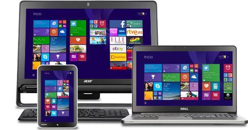 Una tableta, un portátil y un todo en uno con Windows8.1