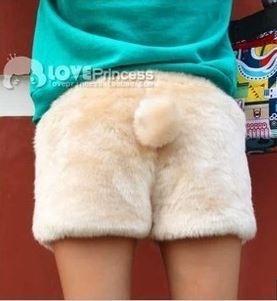 Grátis frete outono inverno mulher de pelúcia velo de veludo bermuda calças boot cut bonito urso de kawaii cauda de coelho leopard shorts