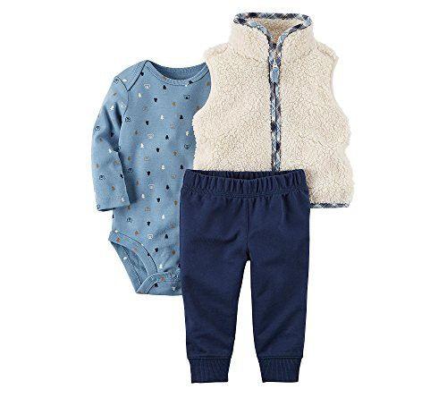 Carter's Baby Boys' 3 Piece Plaid Trim Little Vest Set 6 Months