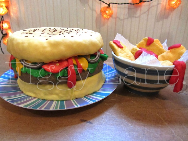 Burger and chips... Made of cake!!