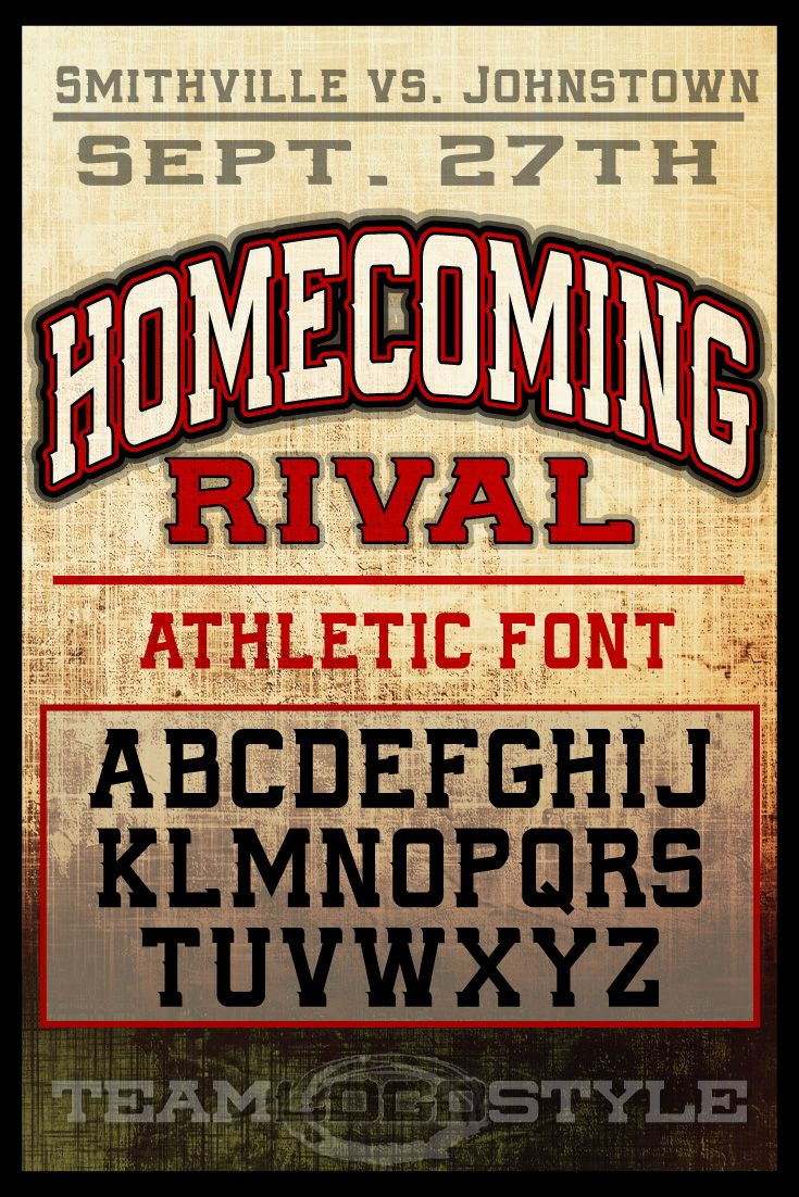 Athletic School Font - Homecoming Rival | Display Fonts | School