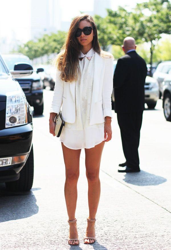 White blazer over a white shirt!