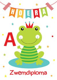 Een vrolijke kaart om te geven aan iemand die geslaagd is voor zijn of haar zwemdiploma. De A kan je zelf aanpassen.