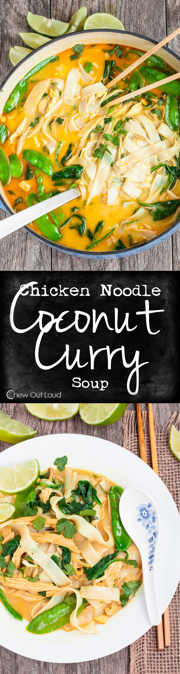 Coconut Curry Chicken Noodle Soup - Healthy, flavorful, and sure to please. Favorite family dinner on chilly evenings.