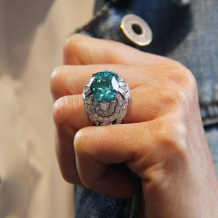 Louis Vuitton tourmaline and diamond one of a kind Conquêtes ring. The central tourmaline is 10.73 carats.
