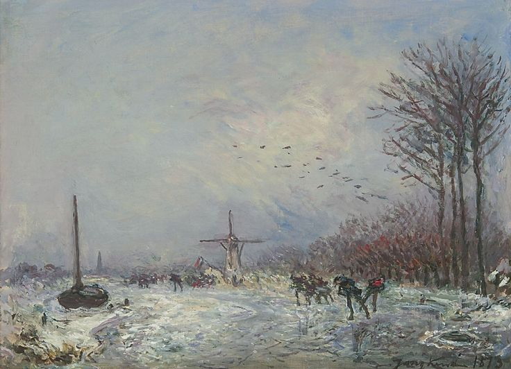 Johan Barthold Jongkind (1819-1891) Dutch canal with skaters, oil on canvas 25.2 x 35.3 cm., signed l.r. and dated 1873