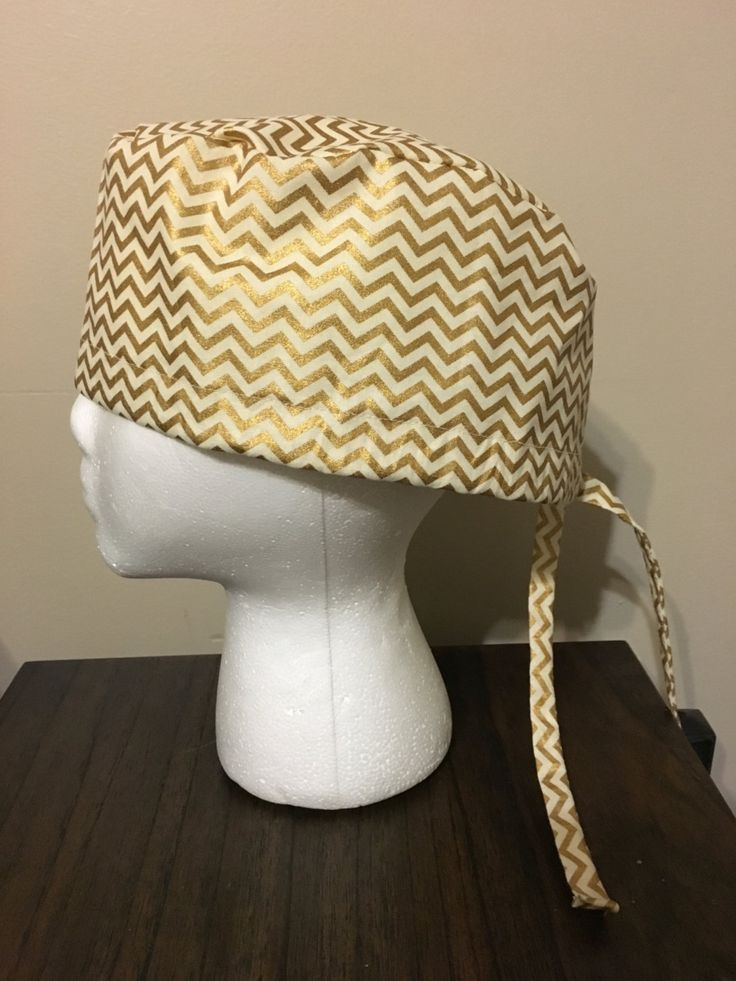 Gold and Cream Chevron Scrub Cap, Surgery Cap, Scrub Caps, Scrub Hat by QuiltsbyHayley on Etsy