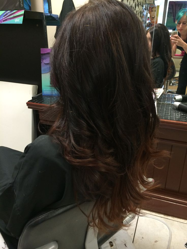 Sombre ombré kopper and dark brunette hair goldwell colour used