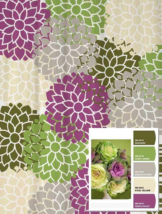 Shower Curtain In Custom Purple Green And Gray Floral Standard And Extra Long