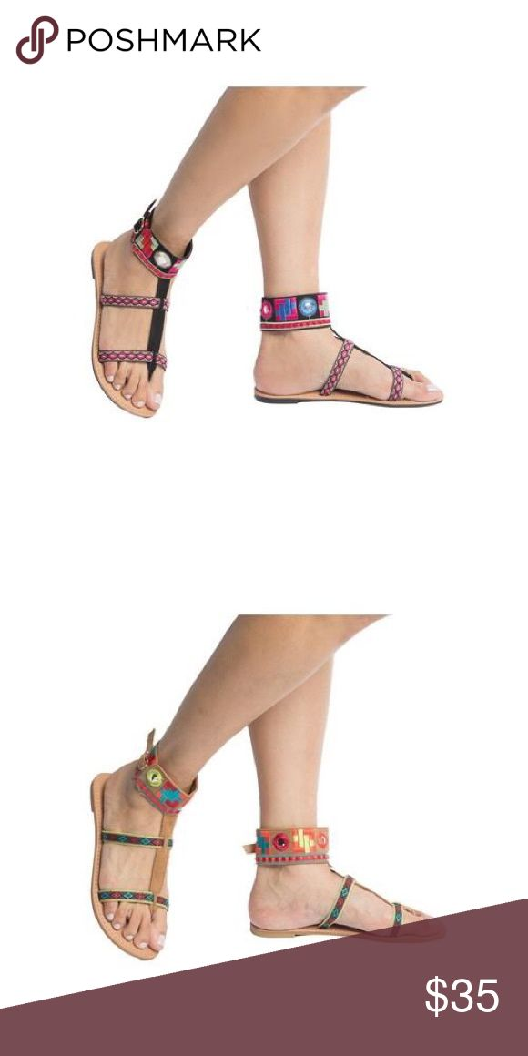 Ladies high top ankle band flat sandals. Black Really unique hobo design, great multi color high top flat sandals with front straps and ankle band. Man made materials, true to size, brand new in box. The second pictures for the camel multi is available in different listing. NO TRADES SHOEROOM21 boutique Shoes Flats & Loafers