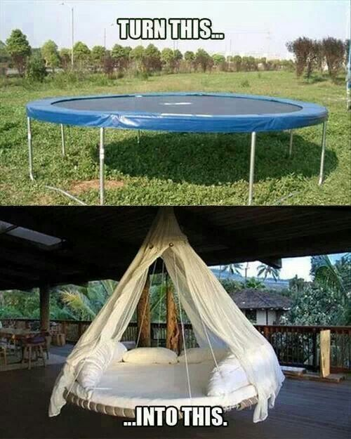 Now that the kids are all grown up what are you going to do with that trampoline?? Turn it into a floating daybed!