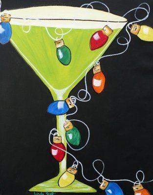 Christmas Tini - acrylic painting on canvas
