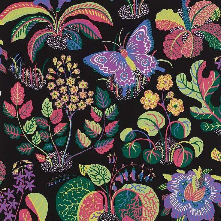 Schumacher Josef Frank Exotic Butterfly Black Multicolor Wallpaper Two Roll Set 1