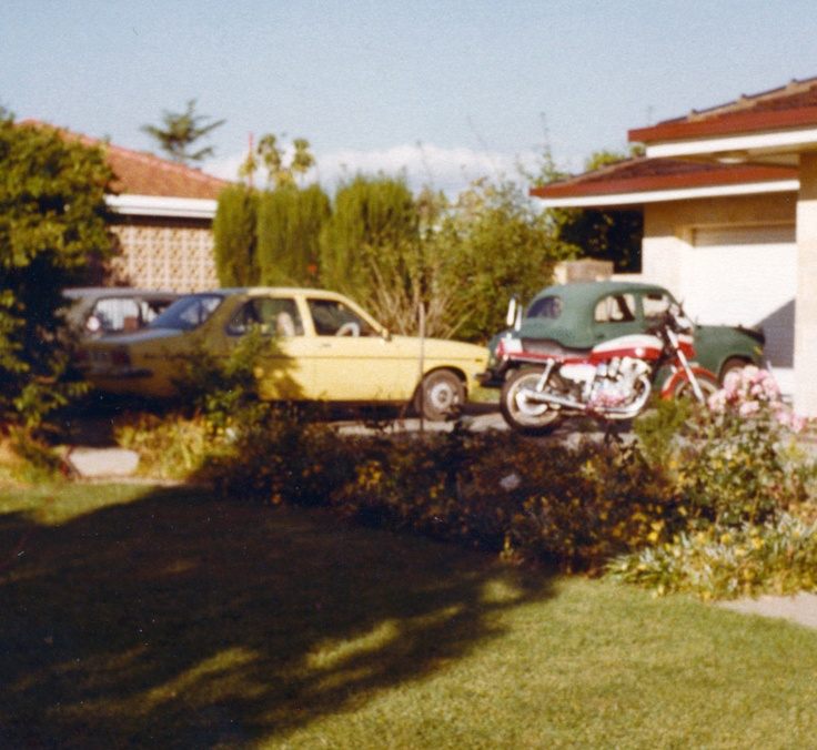 The Holden Gemini parked behind my bike came into my possession through marriage. Drove it to Melbourne and a new life. Damned thing overheated numerous times on the way.