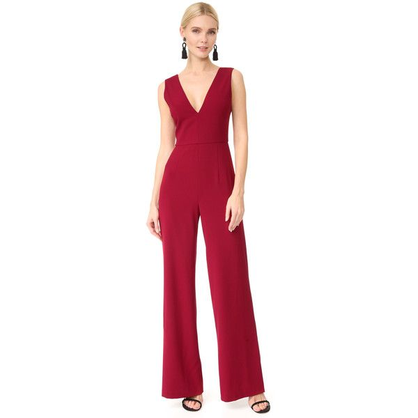 alice + olivia Lina Double V Neck Jumpsuit (£100) ❤ liked on Polyvore featuring jumpsuits, bright bordeaux, open back jumpsuit, jump suit, tailored jumpsuit, red wide leg jumpsuit and zipper jumpsuit