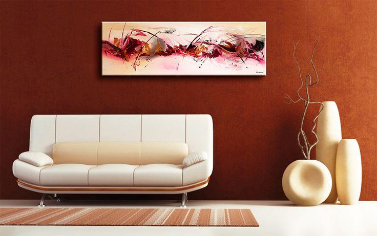 ABSTRACTE SCHILDERIJEN OP CANVAS: Zoals U op de afbeelding kan zien past dit prachtige schilderij heel goed in een moderne woonkamer.
