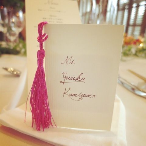 name tag with tassel
